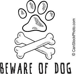 Hüte dich vor Hundeskizze