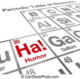 Ha Humor Element periodische Tafel lustige Lachen Komödie.