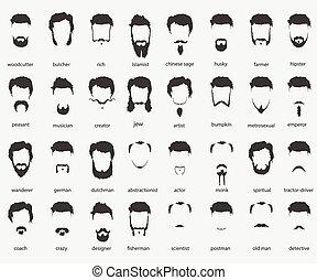 Haare und Bart verschiedener Glaubensrichtungen.