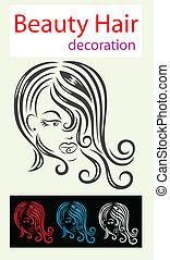 Haarschönheitssymbol.