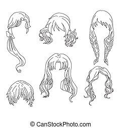 Haarstrumpf für Frauenzeichnung Set 4