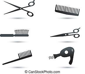 Haarzusatz-Ikonen und Elemente