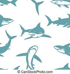 haifische, silhouetten, pattern., seamless