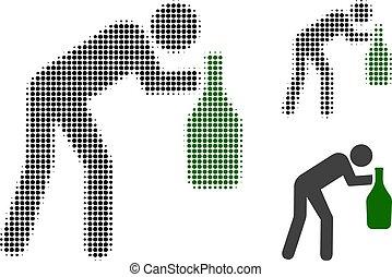 halftone, punktiert, mann, drunky, ikone