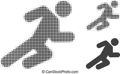 halftone, rennender , punktiert, mann, ikone