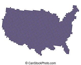 halftone, vereint, amerika, abbildung, vektor, landkarte, staaten