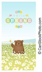 Hallo Frühlingslandschaft Hintergrund mit Bären 2.