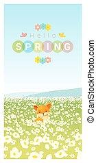 Hallo Frühlingslandschaft Hintergrund mit Fuchs.