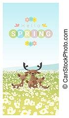Hallo Frühlingslandschaft Hintergrund mit Rehfamilie 2.