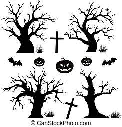 Halloween-Bäume, Spinnen und Fledermaus.