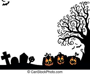 Halloween Baum halb Silhouette Thema 3.