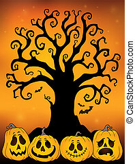 Halloween Baum Silhouette Thema 3.