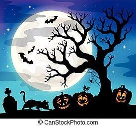 Halloween Baumsilhouette.