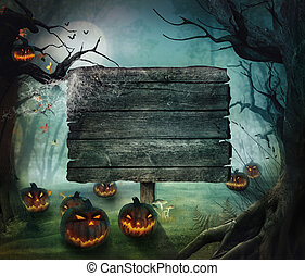 Halloween-Design - Wald-Kürbis
