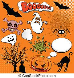 halloween, elemente, komiker