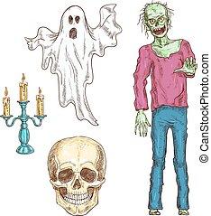 Halloween-Elemente mit Farbskizzen-Icons