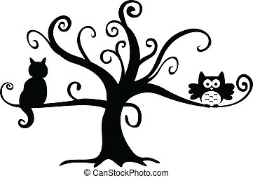Halloween-Eule und Katze im Baum