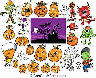 Halloween-Evektoren-Set