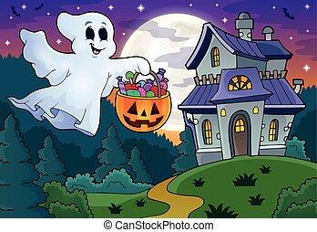 Halloween Geist in der Nähe des Geisterhauses.