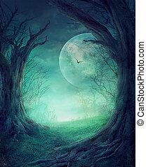 Halloween gruseliger Wald