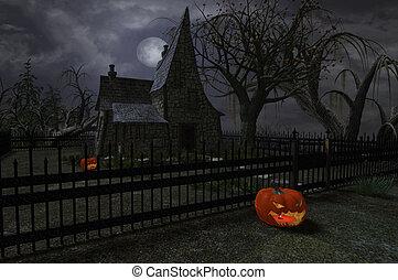 halloween hexe, haus
