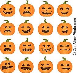 Halloween-Kürbis-Ikonen eingestellt