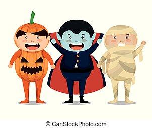 halloween, kindergruppe, auf, angezogene