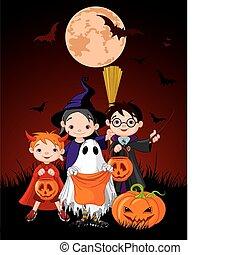 Halloween-Kindertrick oder Süßigkeiten.