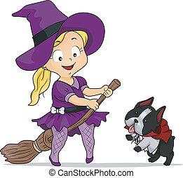 Halloween-Kostüm-Hexenmädchen