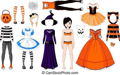 Halloween-Mädchen mit Kostümen