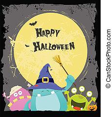 Halloween-Monster-Karte
