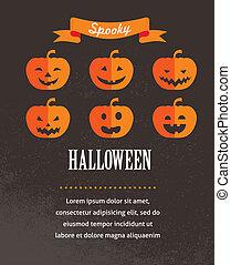 Halloween-Süßes Poster mit Kürbissen. Vector Illustration