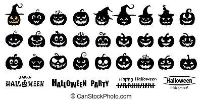 halloween, satz, kã¼rbis, silhouette, abbildung, vektor