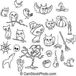 Halloween Set mit verschiedenen Tieren isoliert auf weiß. Kontur, schwarz und weiß.