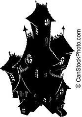 Halloween spukendes Haus, unheimliche Silhouette.