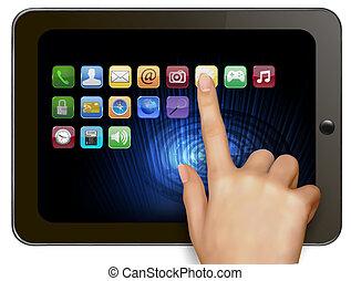 halten hand, digital tablette, berechnen