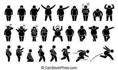 haltungen, grundwortschatz, figur, pictogram., mann, posen, dicker , übergewichtige , stock, zeichen