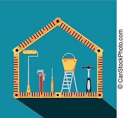 Hammer mit Regeln und Set Werkzeugbau.