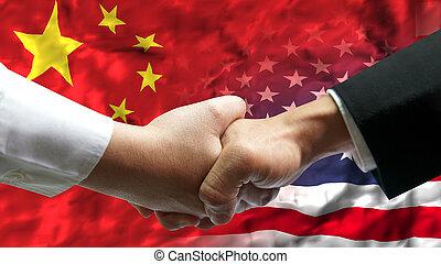 hand, amerika, aus, geschäftsmann, schütteln, staaten, flag., porzellan, vereint