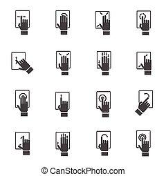 Hand berühren Bildschirmsymbole.