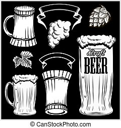 hand, bier, vektor, gezeichnet, satz, black., brille, freigestellt, style., becher