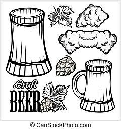 hand, bier, vektor, gezeichnet, satz, white., brille, freigestellt, style., becher