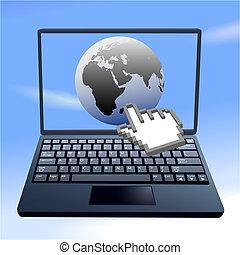 Hand Cursor klickt auf Internet-Ost-Welt-Himmel-Computer
