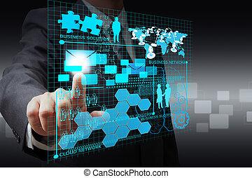 Hand des Geschäftsmannes auf virtuelles Geschäftsnetz