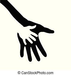 Hand des Kindes in der Hand der Mutter.
