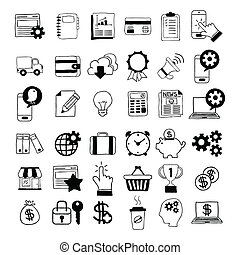 hand-drawn, geschäfts-ikon