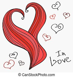 hand-drawn, vektor, heart., romantische , abbildung