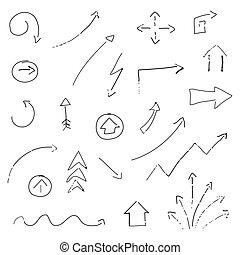 hand-drawn, vektor, pfeile