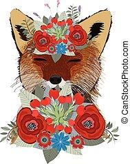 hand-drawn, wolf., wolf, seitenansicht