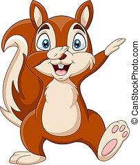 hand, eichhörnchen, winkende , lustiges, karikatur